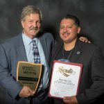Russ Teall of Biodico Zero Net Energy Farms, and Mayor Rey Leon receiving the Green California Leadership award.